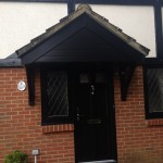 Black fascia on porch with black cladding