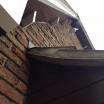White Dentil Block on Rosewood Soffit with White Gable